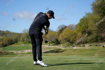 Matt Fitzpatrick of England hits off the third tee during a second round match at the Dell Technologies Match Play Championship golf tournament, in Austin, Texas