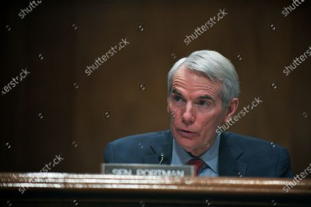 Sen. Robert Portman, R-Ohio, questions Deanne Criswell, President Joe Biden's choice to be FEMA administrator, as she testifies at her confirmation hearing before the Senate Homeland Security Committee, on Capitol Hill in Washington