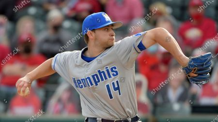 Memphis pitcher Reed Harding (14) throws against Arkansas during an NCAA baseball game, in Fayetteville, Ark
