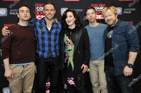 Ari Millen, Dylan Bruce, Maria Doyle Kennedy, Jordan Gavaris, and John Fawcett attend the Chicago Comic and Entertainment Expo C2E2 at McCormick Place in Chicago, Illinois