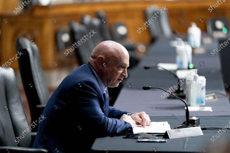 Sen. Mark Kelly, D-Ariz., speaks at a hearing to examine United States Special Operations Command and United States Cyber Command in review of the Defense Authorization Request for fiscal year 2022 and the Future Years Defense Program, on Capitol Hill, Thursday, March 25, 2021, in Washington.  Pool Photo by Andrew Harnik/UPI