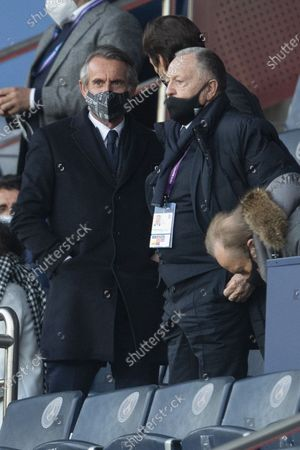 Stock Image of Jean-Claude Blanc Director PSG and Jean-Michel Aulas President of OL