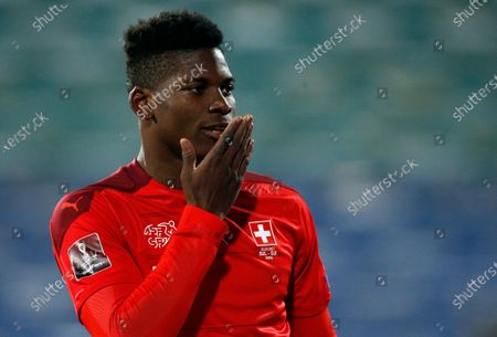 Switzerland 's Breel Embolo celebrates after scoring a goal during the World Cup 2022 group C qualifying soccer match between Bulgaria and Switzerland at Vassil Levski stadium, in Sofia