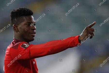 Switzerland's Breel Embolo celebrates after scoring a goal during the World Cup 2022 group C qualifying soccer match between Bulgaria and Switzerland at Vassil Levski stadium, in Sofia