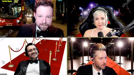 Alanah Pearce, Troy Baker, Mike Bithell and Austin Wintory (Play, Watch, Listen) present the Debut Game award at the 2021 British Academy Games Awards