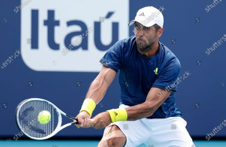Fernando Verdasco of Spain in action against Bjorn Fratangelo of the USA during their Men's singles match at the Miami Open tennis tournament in Miami Gardens, Florida, USA, 25 March 2021.
