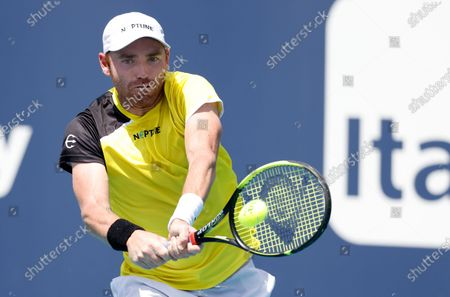 Stock Picture of Bjorn Fratangelo of the USA in action against Fernando Verdasco of Spain during their Men's singles match at the Miami Open tennis tournament in Miami Gardens, Florida, USA, 25 March 2021.