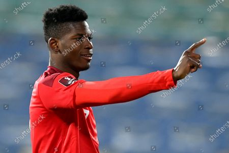 Switzerland's Breel Embolo celebrates after scoring opening goal during the FIFA World Cup 2022 qualifying soccer match between Bulgaria and Switzerland in Sofia, Bulgaria, 25 March 2021.