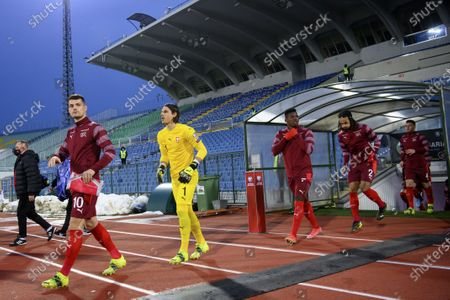 (L-R) Switzerland's midfilder Granit Xhaka, goalkeeper Yann Sommer, forward Breel Embolo, defender Kevin Mbabu and defender Nico Elvedi enter the pitch prior to the FIFA World Cup 2022 qualifying soccer match between Bulgaria and Switzerland in Sofia, Bulgaria, 25 March 2021.