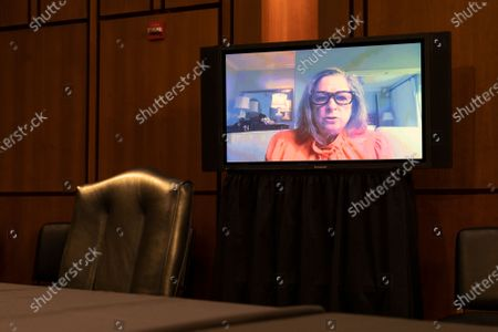 Abigail E. Disney, Chief Executive Officer & Co-Founder of Fork Films, speaks via video conference during a U.S. Senate Budget Committee hearing at the Hart Senate Office Building on Capitol Hill in Washington D.C., U.S..