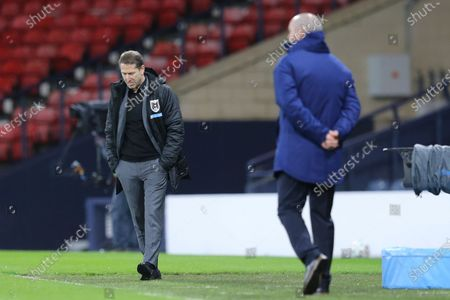 Stock Picture of Head coach Franco Foda (L) of Austria and Head coach Steve Clarke (R) of Scotland during the FIFA World Cup 2022 qualifying soccer match between Scotland and Austria in Glasgow, Britain, 25 March 2021.