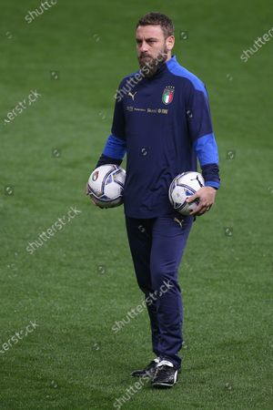 Stock Photo of Daniele De Rossi second coach during Italy warm up before match qualifiers FIFA World Cup Qatar 2022 Group C between Italy vs Northern Ireland in Ennio Tardini stadium in Parma.