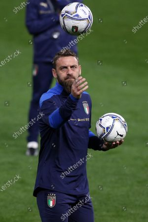 Stock Image of Daniele De Rossi second coach during Italy warm up before match qualifiers FIFA World Cup Qatar 2022 Group C between Italy vs Northern Ireland in Ennio Tardini stadium in Parma.