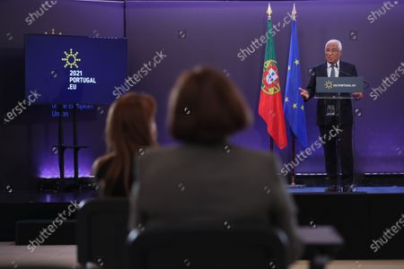 Portuguese Prime Minister, Antonio Costa, speaks during the press conference at the end of the European Council meeting, at Centro Cultural de Belem, Lisbon, Portugal, 25 March 2021.