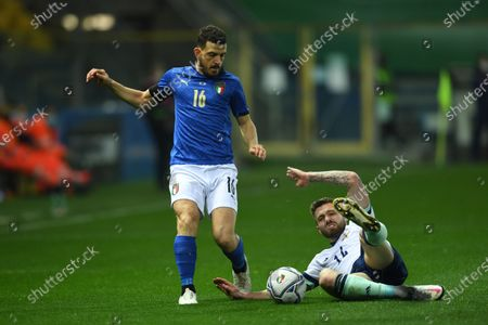 "Alessandro Florenzi (Italy)Stuart Dallas (Northern Ireland)          during the Fifa ""World Cup Qatar 2022 qualifying"" match between Italy 2-0 Northern Ireland  at  Ennio Tardini Stadium in Parma, Italy."