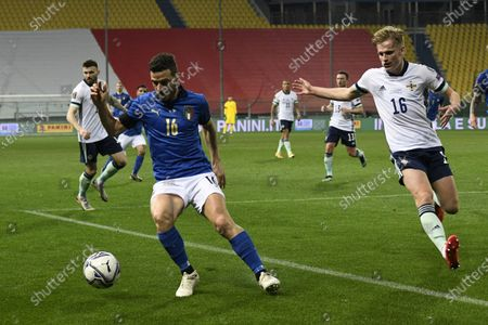 "Alessandro Florenzi (Italy)Ali McCann (Northern Ireland)          during the Fifa ""World Cup Qatar 2022 qualifying"" match between Italy 2-0 Northern Ireland  at  Ennio Tardini Stadium in Parma, Italy."