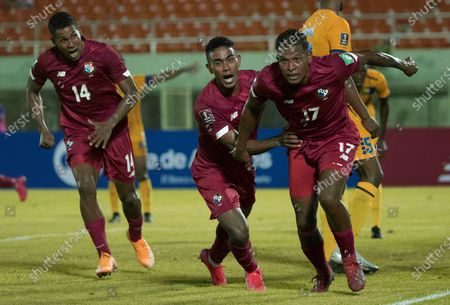 Jair Catuy (R) of Panama celebrates after scoring against Barbados during a Qatar 2022 World Cup Qualifying round soccer match at Felix Sanchez stadium in Santo Domingo, Dominican Republic, 25 March 2021.