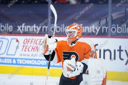 Philadelphia Flyers' Brian Elliott plays during an NHL hockey game against the New York Rangers, in Philadelphia