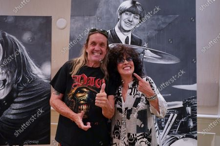 Stock Picture of Nicko McBrain, left, and singer Patti Russo, Delray Beach, FL.