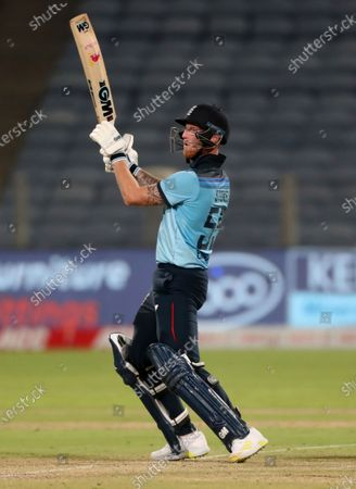 England's Ben Stokes bats during the second One Day International cricket match between India and England at Maharashtra Cricket Association Stadium in Pune, India