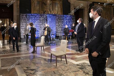 Arrival of the Italian Republic President Sergio Mattarella at the ceremony for the celebration of the 700th anniversary of Dante Alighieri's death at the Quirinale palace