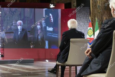 Stock Image of Italian Republic President Sergio Mattarella attends at the ceremony for the celebration of the 700th anniversary of Dante Alighieri's death at the Quirinale palace