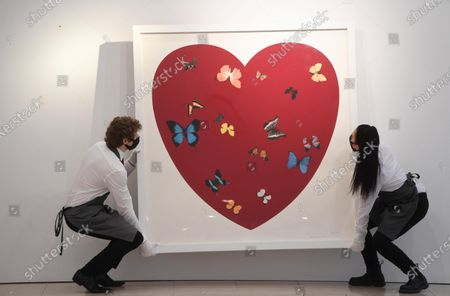 An art handler poses with the work 'Big Love' by British artist Damien Hirst during a media preview of 'Prints and Multiples and Banksy: I Can't Believe You Morons Actually Buy This Shit', for an auction at Christies Auction House in London, Britain, 26 March 2021.