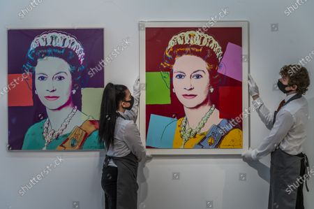 Andy Warhol, Queen Elizabeth II, from: Reigning Queens (Royal Edition)screenprint in colours with diamond dust, 1985, a printer's proof, from the deluxe Royal Edition with diamond dust,Estimate: £100,000-150,000 and Queen Elizabeth II, from: Reigning Queens (L), 1985, numbered7/40, Estimate: £70,000-100,000 and other works - Behind Closed Doors: Preparations take place at Christie's ahead of the Prints & Multiples and Banksy: I Can't Believe You Morons Actually Buy This Sh*T Online Sales. The sales take place between 16-31 March and are both online.