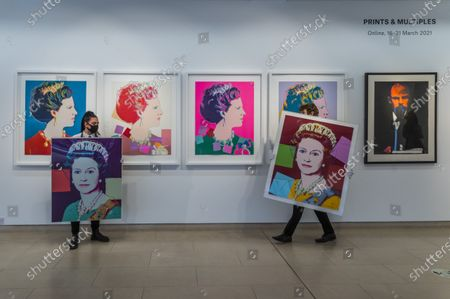 Andy Warhol, Queen Elizabeth II, from: Reigning Queens (Royal Edition)screenprint in colours with diamond dust, 1985, a printer's proof, from the deluxe Royal Edition with diamond dust,Estimate: £100,000-150,000 and Queen Elizabeth II, from: Reigning Queens (L), 1985, numbered7/40, Estimate: £70,000-100,000 with Queen Margarethe II of Denmark, from:Reigning Queens (Royal Edition)the set of four screenprints in colours with diamond dust, numbered R26/30Estimate: £60,000-80,000and other works - Behind Closed Doors: Preparations take place at Christie's ahead of the Prints & Multiples and Banksy: I Can't Believe You Morons Actually Buy This Sh*T Online Sales. The sales take place between 16-31 March and are both online.