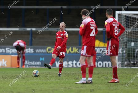 Accrington Stanley's David Morgan kicks the ball away in frustration as his side concede another goal