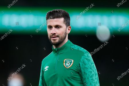 Shane Long of Ireland warms up prior to kickoff; Aviva Stadium, Dublin, Leinster, Ireland; 2022 World Cup Qualifier, Ireland versus Luxembourg.