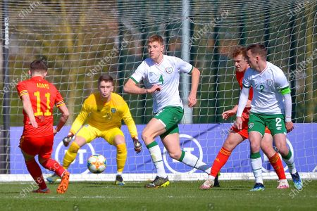 Wales vs Republic of Ireland . Wales' Joe Adams scores their first goal
