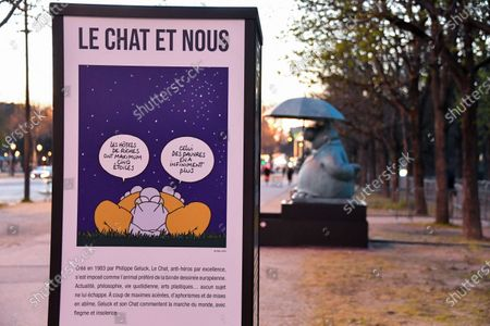 Editorial photo of Philippe Geluck exhibits on the Champs-Elysees, Paris, France - 25 Mar 2021