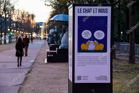 Yann Arthus-Bertrand and Philippe Geluck - Paris: Philippe Geluck's Cats take over the Champs-Elysees. Twenty bronze sculptures of the Cat of Philippe Geluck are exhibited on the Champs-Elysees as of this Friday.