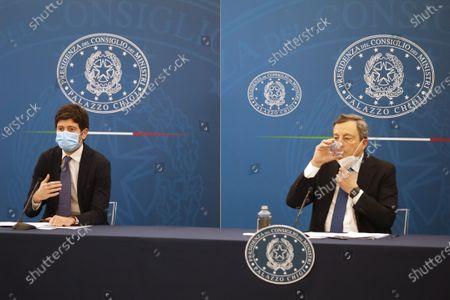 Italian Prime Minister Mario Draghi and Health Minister Roberto Speranza meet the press, in Rome