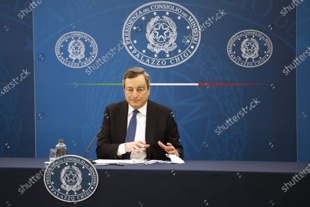 Italian Prime Minister Mario Draghi meets the press, in Rome