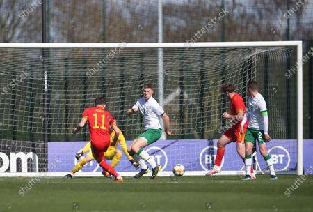 Joe Adams scores first goal of match and celebrates