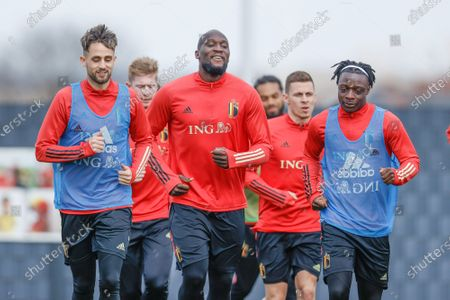Belgium's Adnan Januzaj, Belgium's Romelu Lukaku and Belgium's Jeremy Doku pictured during a training session of the Belgian national team Red Devils, Friday 26 March 2021 in Tubize, ahead of the World Cup 2022 qualification match against Czech Republic.