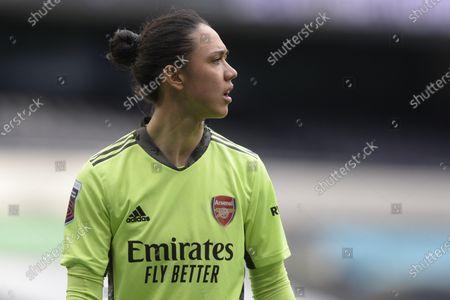 Manuela Zinsberger of Arsenal Women in action during WomenÕs Super League match between Tottenham Hotspur Women and Arsenal Women at The Tottenham Hotspur Stadium in London - 28th March 2021