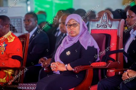 Stock Image of Tanzania's President Samia Suluhu Hassan attends the funeral service of former President John Magufuli in his home town of Chato, Tanzania . Thousands have gathered in the northwestern town of Chato for the burial of former Tanzanian President John Magufuli whose denial of COVID-19 brought the country international criticism