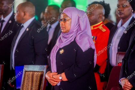 Tanzania's President Samia Suluhu Hassan attends the funeral service of former President John Magufuli in his home town of Chato, Tanzania . Thousands have gathered in the northwestern town of Chato for the burial of former Tanzanian President John Magufuli whose denial of COVID-19 brought the country international criticism