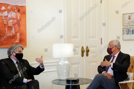 Portuguese Prime Minister Antonio Costa (R) meets with European Commissioner for Internal Market Thierry Breton (L), in Sao Bento Palace in Lisbon, Portugal, 26 March 2021.