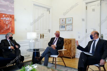 Portuguese Prime Minister Antonio Costa (C ), Economy Minister Siza Vieira (R) meets with European Commissioner for Internal Market, Thierry Breton (L) in Sao Bento Palace in Lisbon, Portugal, 26 March 2021.