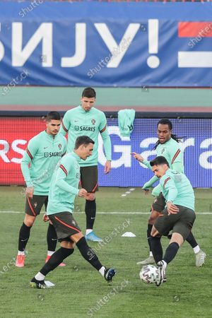 Portugal's (L-R) Andrs Silva, Joao Palhinha, Ruben Dias, Jose Fonte and Renato Sanches attend a training session at Rajko Mitic Stadium in Belgrade, Serbia, 26 March 2021. Portugal faces Serbia on 27 March in their FIFA World Cup Qatar 2022 qualifier match.