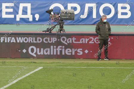 Portugal's head coach Fernando Santos leads a training session at Rajko Mitic Stadium in Belgrade, Serbia, 26 March 2021. Portugal faces Serbia on 27 March in their FIFA World Cup Qatar 2022 qualifier match.