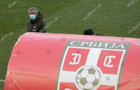 Portugal head coach Fernando Santos attends the training session in Belgrade, Serbia, 26 March 2021. Portugal will face Serbia in their 2022 FIFA World Cup qualification UEFA group A soccer match on 27 March 2021.