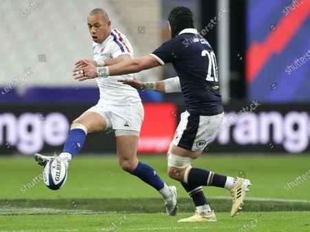France vs Scotland. France's Gael Fickou and Ryan Wilson of Scotland