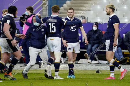 France vs Scotland. Scotland's Stuart Hogg and Finn Russell celebrate after the game