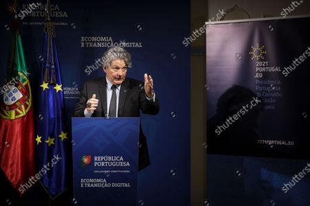 The European Commissioner for Internal Market, Thierry Breton, gestures during the joint press conference with the Minister of State, Economy and Digital Transition, Pedro Siza Vieira (not pictured), Lisbon, 26 March 2021.