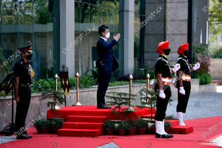 South Korean Defence Minister, Suh Wook inspecting a Tri-service Guard of Honour prior to a meeting with Defence Minister Rajnath Singh, at Sushma Swaraj Bhawan (Pravasi Bharatiya Kendra),  on March 26, 2021 in New Delhi, India.